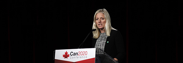 Minister of Environment and Climate Change Catherine McKenna speaks to delegates at the second annual Canada 2020 conference in Ottawa about Canada's efforts to fight climate change
