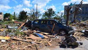 © Environment Canada. Damage to Goderich Ontario, after a Fujita Scale 3 tornado with winds between 250 and 320 km/h struck the town in July 2011.