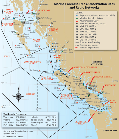 Marine Forecast Areas Observation Sites And Radio Networks Map