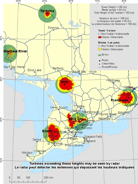 "This map shows a view of the radar sites located within the area of Southern Ontario. A defined circle with the radius of 50 km is drawn around each radar indicating our consultation zone. Around each radar there is a coloured region indicating the locations where a turbine is visible to the radar. Major cities in the province are shown. An explanation on how to view this map can be found in the section ""How to view the map""."