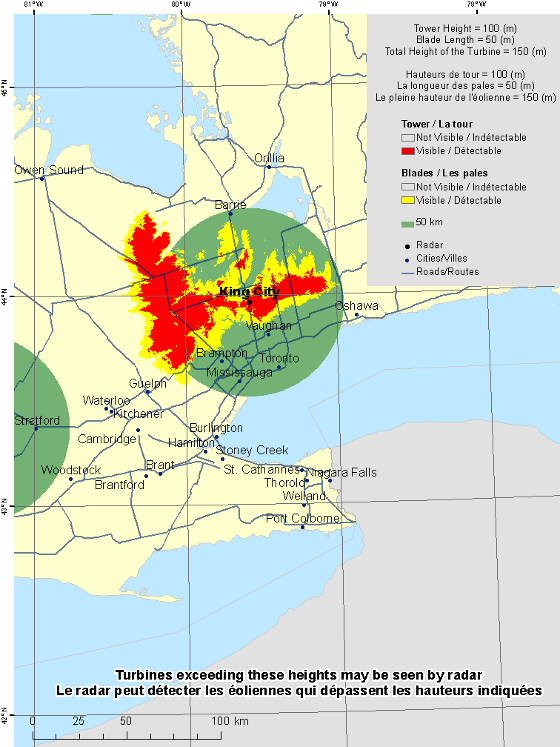 "This map shows a view of the King City weather radar located at coordinates 43.96389° latitude and -79.57389° longitude. A circle is defined around the radar with a radius of 50 km. There is also a coloured region indicating the locations where a turbine is visible to the radar. As well, major cities and roads are shown. An explanation on how to view this map can be found in the section ""How to view the map""."