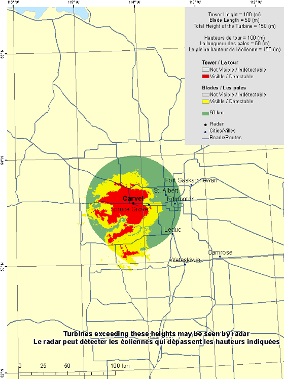 "This map shows a view of the Carvel weather radar located at coordinates 53.56052° latitude and -114.14481° longitude. A circle is defined around the radar with a radius of 50 km. There is also a coloured region indicating the locations where a turbine is visible to the radar. As well, major cities and roads are shown. An explanation on how to view this map can be found in the section ""How to view the map""."