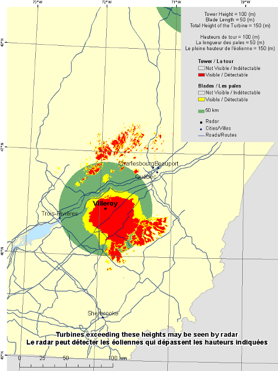 "This map shows a view of the Villeroy weather radar located at coordinates 46.44956° latitude and -71.91367° longitude. A circle is defined around the radar with a radius of 50 km. There is also a coloured region indicating the locations where a turbine is visible to the radar. As well, major cities and roads are shown. An explanation on how to view this map can be found in the section ""How to view the map""."