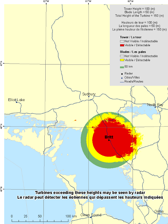 "This map shows a view of the Britt weather radar located at coordinates 45.79313° latitude and -80.53378° longitude. A circle is defined around the radar with a radius of 50 km. There is also a coloured region indicating the locations where a turbine is visible to the radar. As well, major cities and roads are shown. An explanation on how to view this map can be found in the section ""How to view the map""."