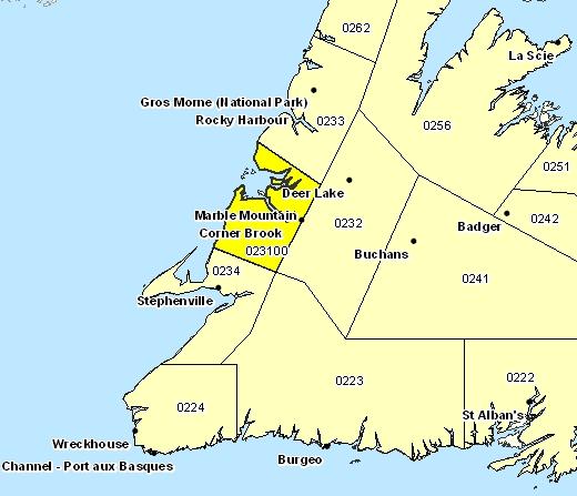 Corner Brook (NL) Canada  city photos gallery : corner brook and vicinity area forecast sub region 023100 corner brook ...