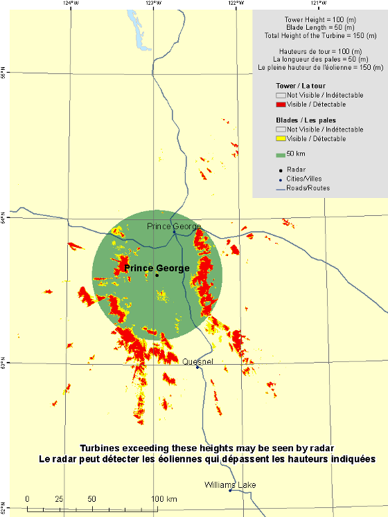 "This map shows a view of the Prince George weather radar located at coordinates 53.61539° latitude and -122.95469° longitude. A circle is defined around the radar with a radius of 50 km. There is also a coloured region indicating the locations where a turbine is visible to the radar. As well, major cities and roads are shown. An explanation on how to view this map can be found in the section ""How to view the map""."