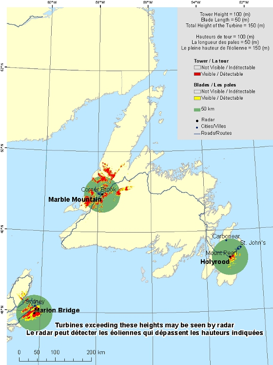 "This map shows a view of the radar sites located within Newfoundland. A defined circle with the radius of 50 km is drawn around each radar indicating our consultation zone. Around each radar there is a coloured region indicating the locations where a turbine is visible to the radar. Major cities in the province are shown. An explanation on how to view this map can be found in the section ""How to view the map""."
