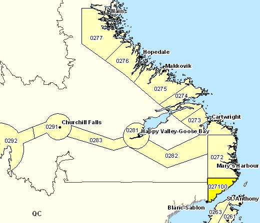 Forecast Sub-regions of Red Bay to L'Anse-au-Clair